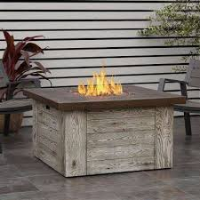 fiber cast concrete propane fire pit table in weathered gray