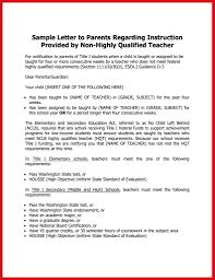 Nclb Certification 93162 Sample Letter To Parents Regarding
