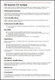Modern Resume For Instructors Esl Teacher Cv Sample Myperfectcv
