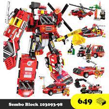 Đồ chơi lắp ráp Robot Cứu hỏa 6 trong 1 - Robot Transformer Sembo Block  103093 - Đồ chơi Lego 649 mảnh ghép chính hãng 219,000đ