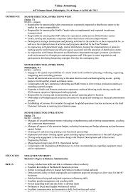 Senior Director Operations Resume Samples Velvet Jobs