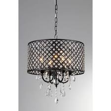 warehouse of tiffany monet 17 in black indoor drum shade crystal chandelier with shade