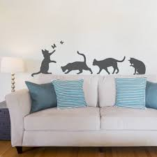on wall art decals for living room with cat wall decals cat vinyl wall stickers wallums