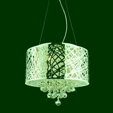 pendant chandelier web modern laser cut drum shade crystal round stainless steel lights images