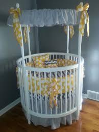 Circular Crib Bedding Modern White Round Baby Crib With Amazing Gray Themed Canopy