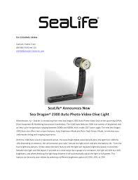 Sea Dragon 2300 Auto Light Sealife Announces New Sea Dragon 2300 Auto Manualzz Com