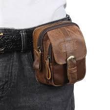 men genuine leather waist bag cell mobile phone pocket s713 belt pouch pack vintage hip bag travel waist pack cute packs leather pack