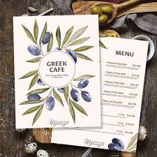 Cafe Menu Template Menugo Greek Cafe Menu Template