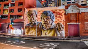 phototastic on wall art melbourne street with old timers new town smug melbourne street art steven wright