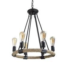 rope rustic chandeliers 6 light pendant lighting
