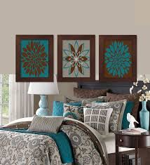 teal and brown bedroom. Exellent Brown Wall Art Teal Brown Dahlia Flower Bloom Bedroom Bathroom Decor Modern  Abstract Floral Flourish Artwork Set Of 3 Prints Home Office Intended And A