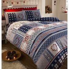 navy blue red white malmo double bed duvet quilt cover bedding set nordic snowflakes hearts