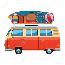 Camper Van Graphics Design Camper Van Icon With Baggage Surfboard Buoy In White Background