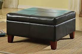 homepop k2380 e169 bonded leather square storage ottoman coffee table with wood legs