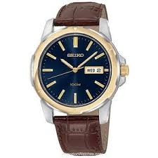 seiko day date watch for men blue face brown leather strap s seiko day date watch for men blue face brown leather strap sgga08