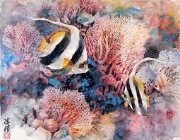 lian zhen erfly fish chinese painting half detail half spontaneous style 16 x 20