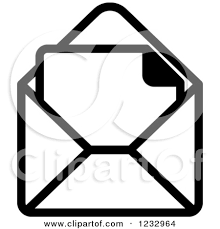 Image result for black and white image of envelope with invoice