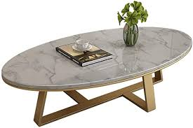 Simplistic <b>Oval Coffee</b> Table, Couch Snack Accent Cocktail Tea ...