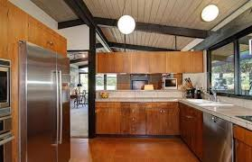 ... Kitchen Mid Century Modern Cabinet Doors Wooden Countertop Built In  Sink Brushed Nickel Chandelier Standard Eased ...