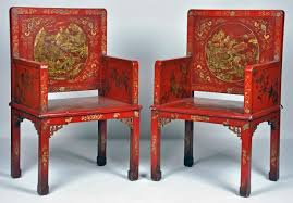 red lacquered furniture. A Pair Of Chinese Parcel Gilt Decorated Red Lacquered Chairs Furniture