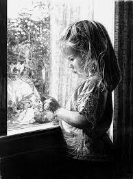 window pencil drawing. robb scott artwork: self reflection | original drawing pencil children art window