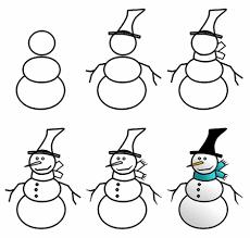 how to draw a cartoon snowman step 3