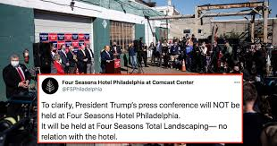 Последние твиты от rudy w. Four Seasons Total Landscaping Odd Spot For Trump Press Conference