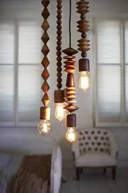 unique pendant lighting. Unique Lighting Fixtures Made Of Wooden Beads Pendant E