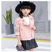 pink black red color leather jacket for baby girls faux leather jackets children outerwear