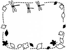 秋落ち葉の上を飛ぶとんぼの白黒点線フレーム飾り枠イラスト 無料
