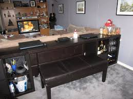 bar table behind couch