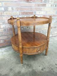 vintage drexel heritage burl wood round 2 tier side table with drawer mid century for in puyallup wa offerup