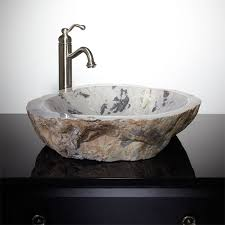 lunata cobble stone vessel sink bathroom