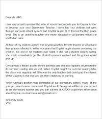 Letters For A Teacher Sample Letters Of Recommendation For A Teacher 9 Examples