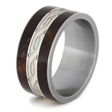 mens celtic knot wedding bands. large silver celtic knot honduran rosewood burl titanium mens wedding band bands