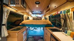 creatid custom sprinter conversion kitchen cabinets with versatile abundant space for people bikes and