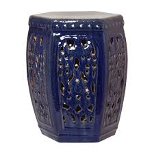blue hexagon ceramic garden stool
