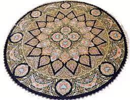 round qum rezaei silk persian rug