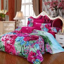 turquoise green and purple jungle safari themed tropical flower print vintage chic bedding duvet cover sets
