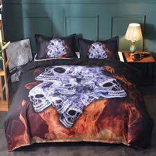 fanaijia 3d skull bedding set king size cool flame print duvet cover set with pillowcase au