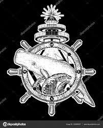 Velryba Volant Maják Umění Tetování Cestování Dobrodružství