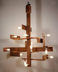 sold unique custom chandelier with reclaimed wood