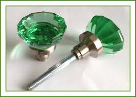 very impressive oversize real solid green glass astoria knobs vintage type door knobs