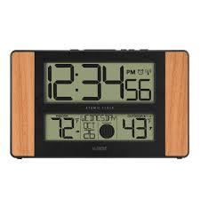 atomic digital clock alarm temperature moon phase date display oak finish