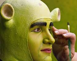 going ogre actor steven angove is transformed into the character shrek during a run