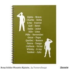 The nato phonetic alphabet with audio, also converts text to phonetic audio and words. Army Soldier Phonetic Alphabet Cadet School Notebook Zazzle Com Phonetic Alphabet School Notebooks Army Soldier