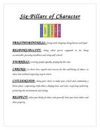 the best pillars of character ideas pillars this explains all of the six pillars of character this is great to hand out