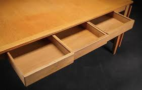 Mid-Century Modern Danish Oak Desk or Dining Table with Drawers and Leaves  For Sale