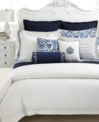 ralph lauren palm harbor coordinates with other ralph lauren patterned and solid bedding in rich navy