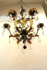 multi colored glass chandelier six arm wheat sheaf with drops coloured